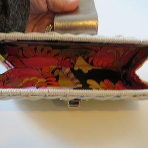 kate spade Bags - KATE SPADE WHITE WOVEN WICKER CLUTCH HANDBAG *
